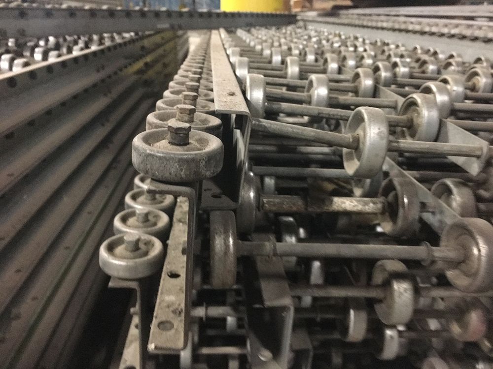 Close up view of Skatewheel Conveyor unit previously installed in Belleville, New Jersey