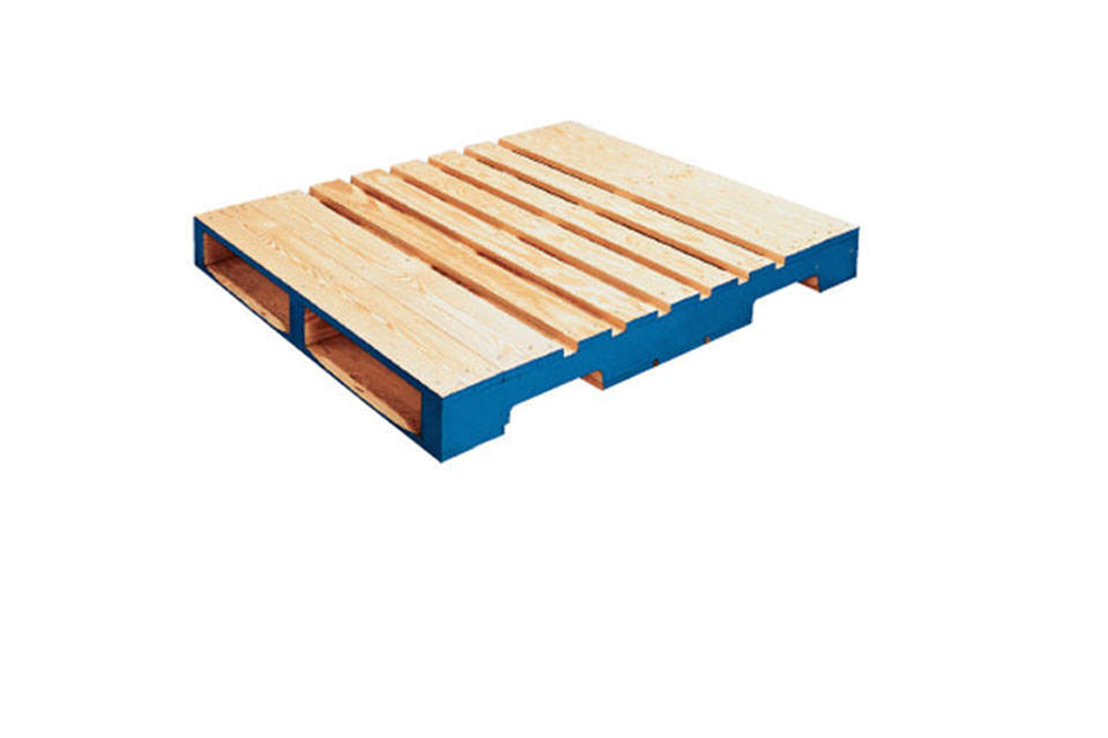 this is a 2-Way pallet notice how the stringers sit on top of decks boards and have another set of deck boards on top, compared to the skid which has only one deck on top. Also notice how the pallet allows for a lift truck to enter from 2 sides