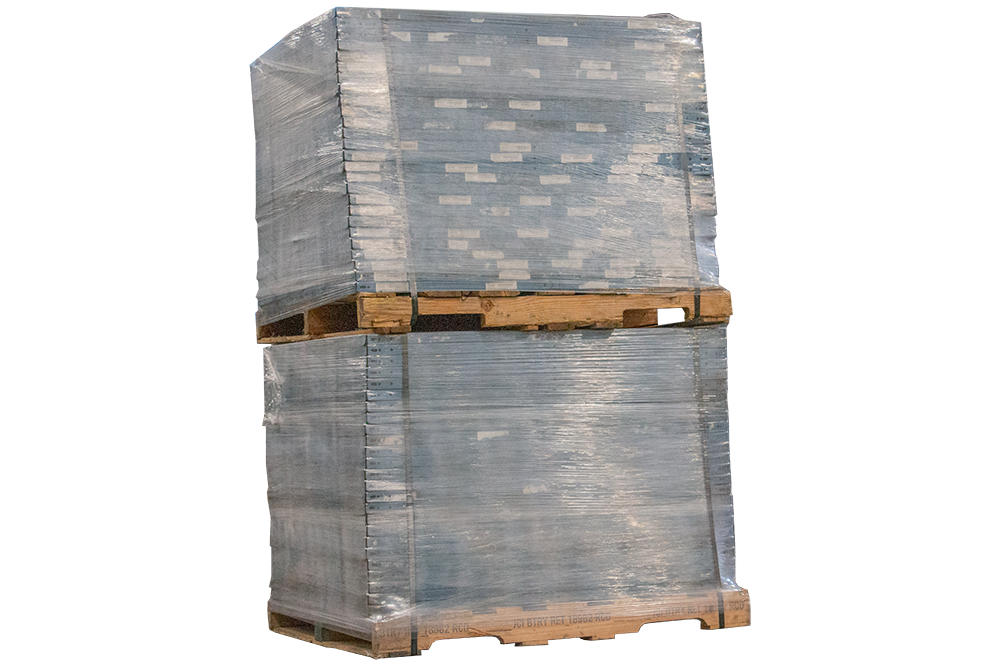 Double stacked pallet properly strapped and wrapped