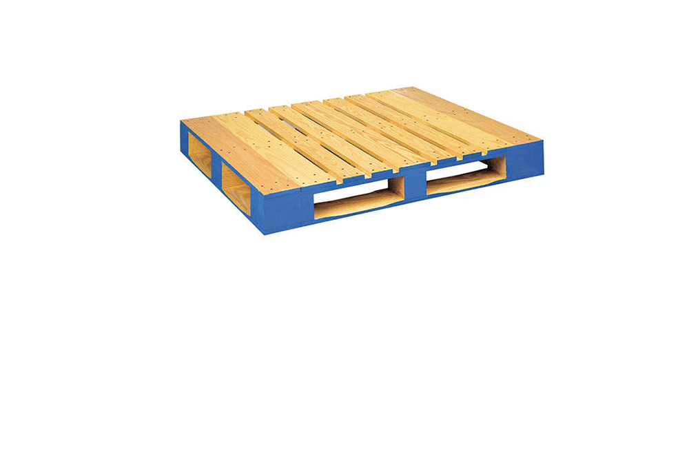 This is a 4-Way Pallet notice how a lift truck can enter from any of the 4 sides and is a stronger structure compared to the 2-Way Pallet.
