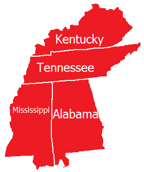 Servicing Kentucky, Tennessee, Mississippi, and Alabama