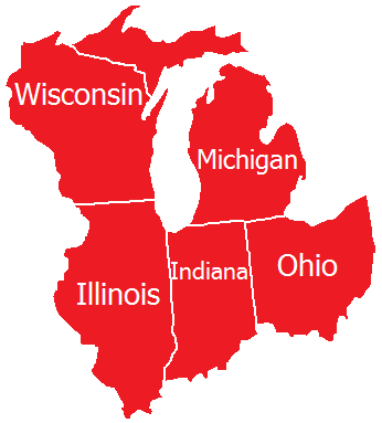 Servicing Wisconsin, Michigan, Illinois, Indiana, and Ohio