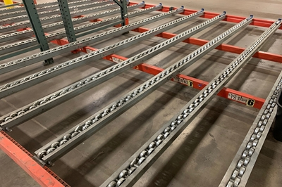 Used Dual Wheel Staggered Pallet Flow Rails