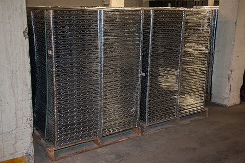 Two packaged pallets of used Metro wire shelving