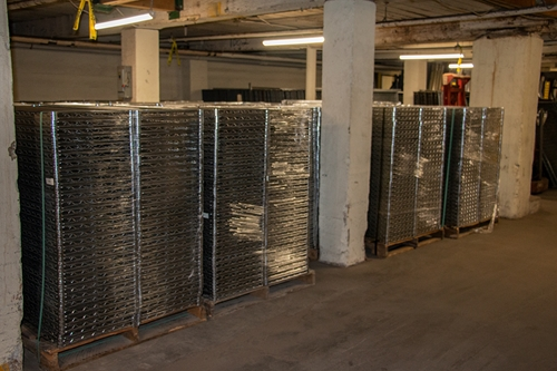 packaged pallets of used Metro wire shelves