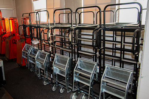 Tote Cart with Spring-Loaded Folding Ladder