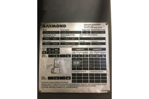 Used Raymond EASI Order Picker Badge