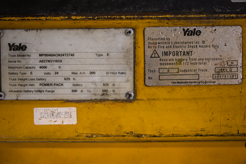 Used Yale MPB040 Electric Pallet Jack Badge