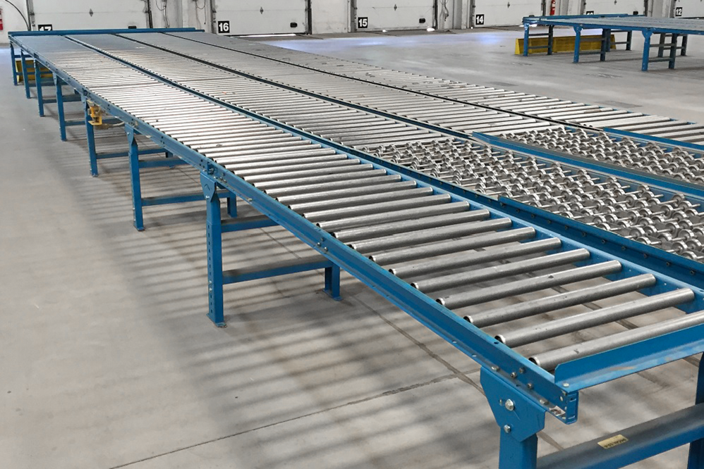 Used Gravity Roller Conveyor being prepared for an order