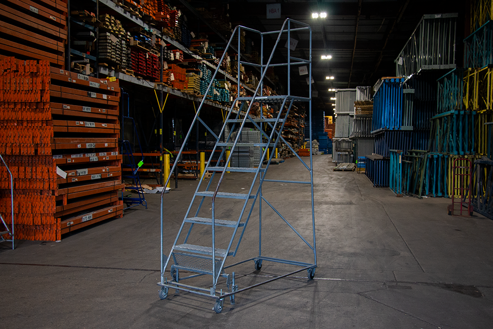 Used Tri Arc Xtra Wide 8 Step Rolling Ladders American